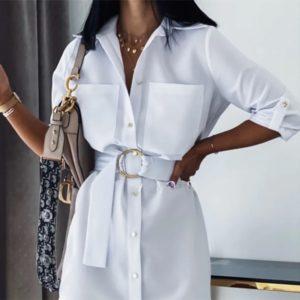 Dámské elegantní košilové šaty s páskem Linda