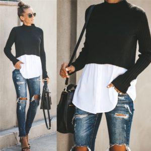 Dámský stylový svetr se všitou košilí Melina