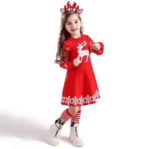 Dětské stylové vánoční šaty Deer