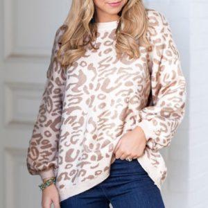 Dámský podzimní svetr s leopardím vzorem Missie