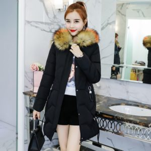 2019 High Quality Long Coat Cotton Padded Outwear Park Winter Women Warm Thicken Jacket with Fur Hooded Long Coat Parka