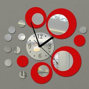 Stylové hodiny na zeď se zrcadlovým efektem