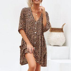 Dámské letní propínací leopardí mini šaty