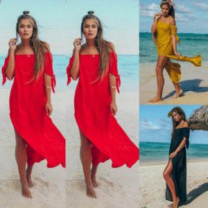 Dámské jednobarevné plážové šaty Amy