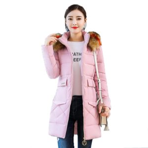 Teplý kabát Ellesha s kapucí a barevným kožíškem