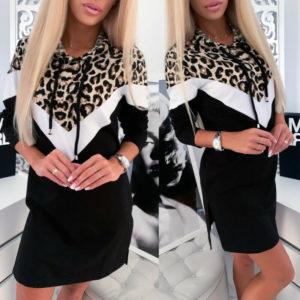 Dámské mikinové šaty s leopardí vzorem