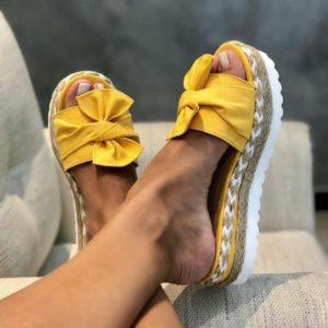 Dámské moderní pantofle s mašlí