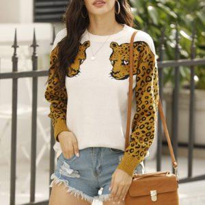 Dámský trendy svetr Leopard - kolekce 2020