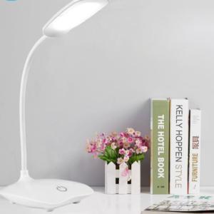 Bílá LED lampa s USB nabíjením připevnitelná na stůl