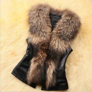 Women Faux Fur Leather Patchwork Vest Jacket Sleeveless Back Bowknot Decor Coat Autumn Warm Waistcoat Gilet Top