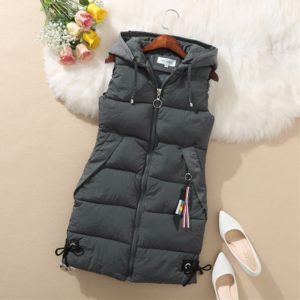Dámská stylová zimní dlouhá prošívaná vesta s kapucí