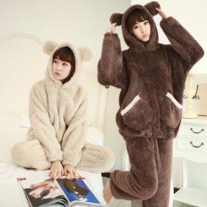 Plyšové pyžamové kalhoty a mikina s ušima