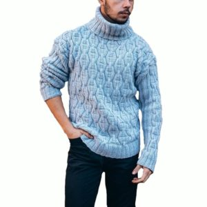 2020 Turtleneck Mens Pullover Autumn Winter Soft Warm Solid Comfortable Spacious Clothes Knitted Cotton Casual Hombre Sweater