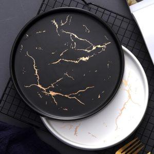 Mramorové talíře z porcelánu