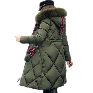 Dámská dlouhá zimní bunda se vzorem