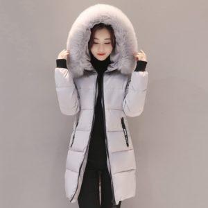 Women Winter faux fur collar Jacket Cotton Padded Hooded Warm Thicken Women Coat Female Parka Mujer Outwear