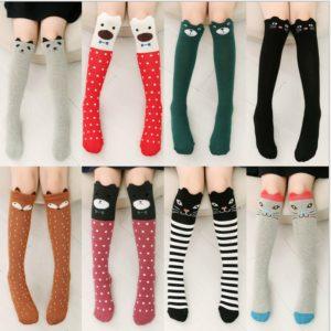 Kawaii Girls Boys Socks Catoon Pattern Kids Socks Baby Long Knee High Socks Children Christmas Gift Spring Stocking For Girl
