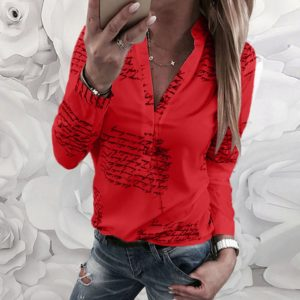 Women Blouse V Neck Letters Printing Button Long Sleeve Shirt Casual Womens Tops And Blouses Summer Tunic Tops