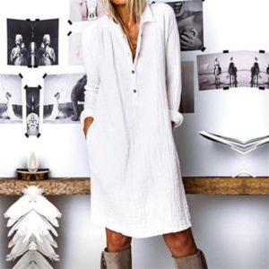 Cotton Linen Women Dress 2020 Spring Autumn Loose Plus Size Casual Vestidos Long Sleeve Nature Button Turn Down Collar Dresses