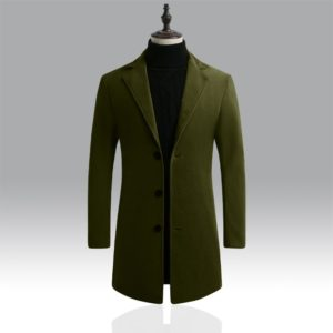 Autumn Winter Mens Brand Fleece blends Jacket Male Overcoat Casual Solid Slim collar coats Long cotton trench coat Streetwear