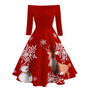 Christmas 2020 Evening Woman Dress Winter Long Sleeve Party Sexy Dresses For Women New Year 2021 Navidad Print Clothes Vestidos