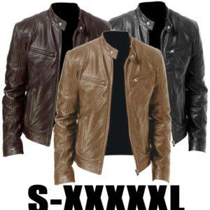 Men Leather Jacket Winter Vintage Zipper Plus Size Motorcycle Jackets Fashion Stand Collar Pocket Solid Male Jacket Coat Outwear
