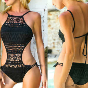 Módní dámské sexy krajkované jednodílné plavky se šněrováním