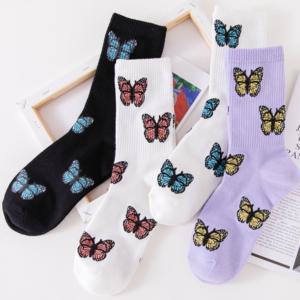 Dámské bavlněné prodyšné ponožky s originálními potisky