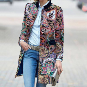 Dámský jarní elegantní kabát se vzory