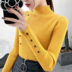 Dámský rolákový bavlněný svetr s knoflíčky
