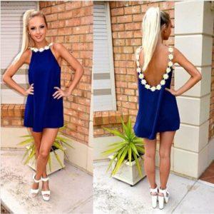 Krásné modré letní šaty s kytičkami
