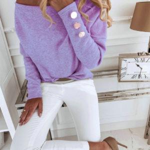 Dámský dlouhý elegantní svetr s knoflíky na rukávech Elisa
