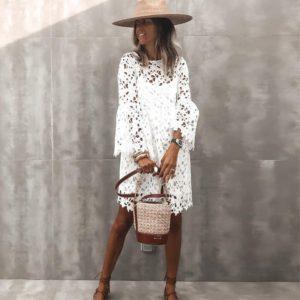 Dámské letní bílé krajkové šaty s volánkovými rukávy