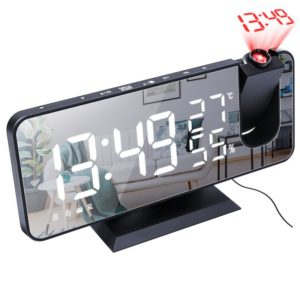 LED elektronické stolní digitální hodiny s projektorem času / rádio