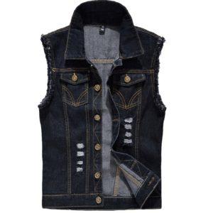 Pánská džínová vesta v kovbojském vzhledu
