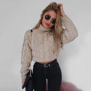 Dámský luxusní pletený krátký svetr Claudia