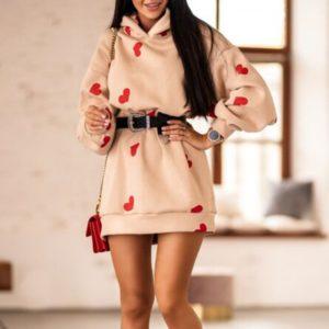 Dámské mikinové šaty se srdíčky