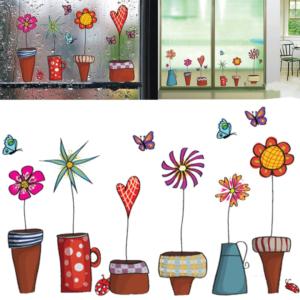 Nástěnná a okenní dekorační samolepka - květiny