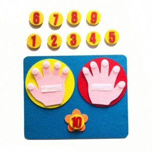 Matematická vzdělávací předškolní hra s prsty a čísli - sada plstěných čísel