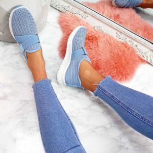 Dámské fashion modré tenisky s kamínky | HIT 2021