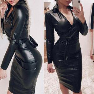 Dámské sexy košilové kožené krátké šaty
