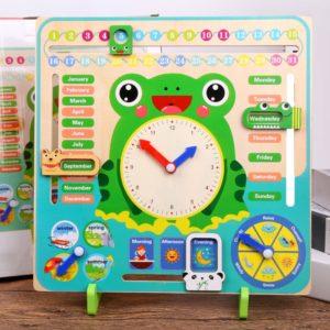 Dětský dřevěný vzdělávací předškolní kalendář + hodiny - výuka angličtiny