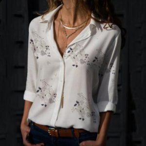 Dámská košilová halenka s květinovým potiskem