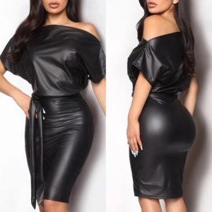 Dámské sexy kožené šaty