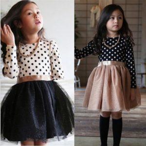 Dívčí jarní šaty s dlouhým rukávem a šifónovou sukní