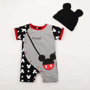 Pyžamový set overal s čepicí Mickey a Minnie