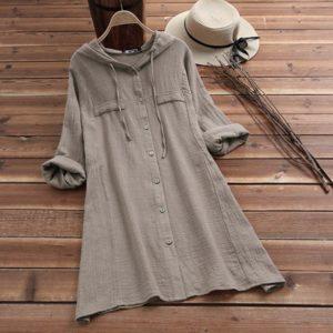 Dámské košilové šaty s kapucí