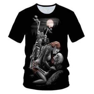Pánské motocyklové punkové triko s motivy lebek