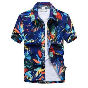 Pánská košile modrá košile v havajském stylu